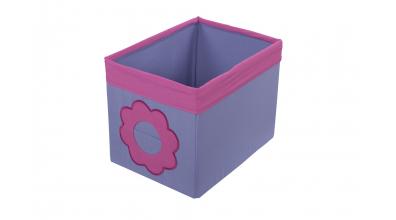 Textilný box do regálu kvietok - ružovo fialový