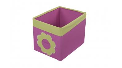 Textilný box do regálu kvietok - ružovo zelený