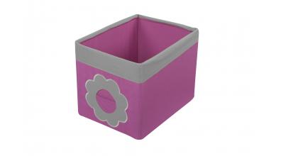 Textilný box do regálu kvietok - ružovo šedý