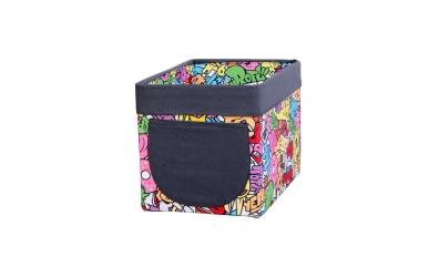 Textilný box do regálu comics farebný