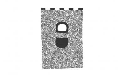 Textília COMICS palanda nízká 1610 mm  čiernobiely