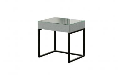 Čalouněný noční stolek INDUSTRY se sklem, MATERASSO