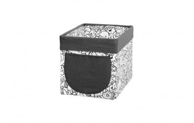 Textilný box do regálu comics čiernobiely