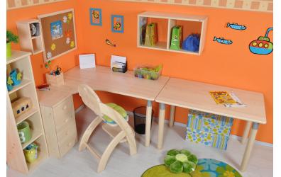 Písací stôl ERGO maxi ľavý, buk cink
