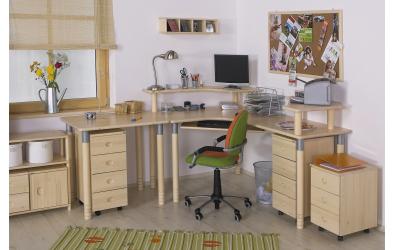 Písací stôl ERGO maxi pravý, buk cink