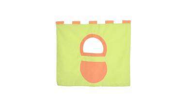 Závesná textília pod zvýšené jednolôžko - zeleno oranžová