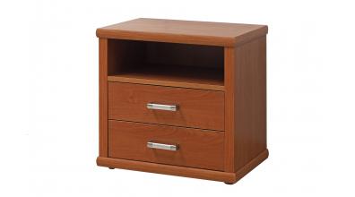 Nočný stolík 2-zásuvkový, oblé hrany, dub cink