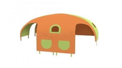Domček stan vrecká pre delené čelo a zábranu A B ľavý zeleno/oranžový