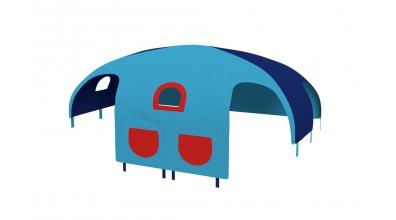 Domček stan vrecká pre delené čelo a zábranu A B  pravý  tyrkysovo/modrý