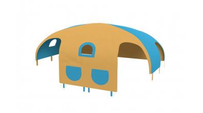Domček stan pre delené čelo a zábranu A, B  pravý - žlto tyrkysový
