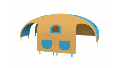 Domček stan vrecká pre delené čelo a zábranu A B ľavý  žlto/tyrkysový