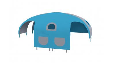 Domček stan vrecká pre delené čelo a zábranu A B ľavý tyrkysovo/šedý