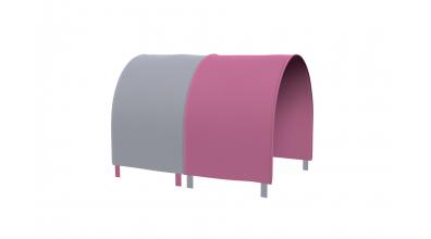 TUNEL na posteľ pre zábranu A B ružovo/šedá