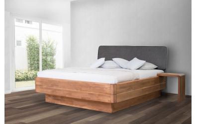Manželská postel FANTAZIE Grande čelo čalouněné nízké buk cink