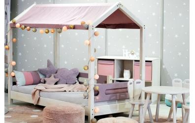 Jednolôžko nízke Bubliny, buk cink, detská posteľ z masívu