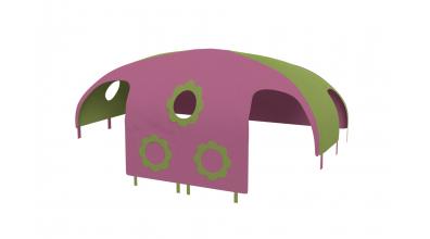 Domček stan pre delené čelo a zábranu A B pravý - ružovo zelený