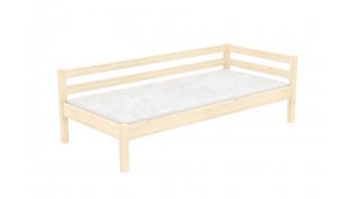 Jednolôžko so zábranou a nízkym čelom ľavým, smrek, detská posteľ z masívu