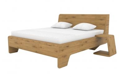 Manželská postel KUPÉ čelo šikmé, divoký dub