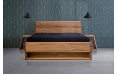 Manželská posteľ KUPÉ s nikou, divoký dub
