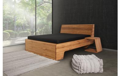 Manželská posteľ KUPÉ s plným čelom pri nohách, divoký dub
