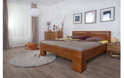 Manželská posteľ SOFIA  čelo rovné s výrezmi L 160cm buk cink