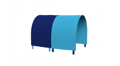 TUNEL na posteľ pre zábranu A B tyrkysovo/modrý