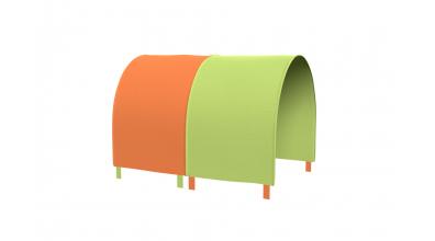 TUNEL na posteľ pre zábranu A B zeleno/oranžový