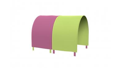 TUNEL na posteľ pre zábranu A B zeleno/ružový
