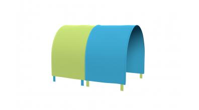 TUNEL na posteľ pre zábranu A B tyrkysovo/zelený
