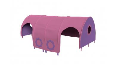 Domeček tunel kytičky pro zábranu A B růžovo/fialová