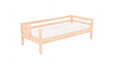 Jednolôžko s deleným čelom pravé, buk cink, detská posteľ z masívu