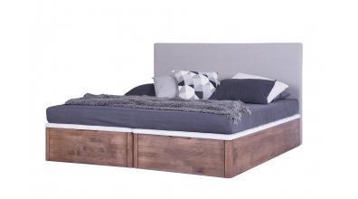 Manželská posteľ DREAMBOX s čalúneným čelom, čelný výklop 180x200 cm, buk cink