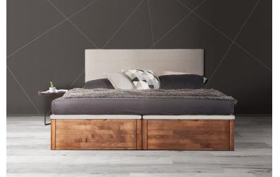Manželská posteľ DREAMBOX s čalúneným čelom, čelný výklop 160x200 cm, buk cink