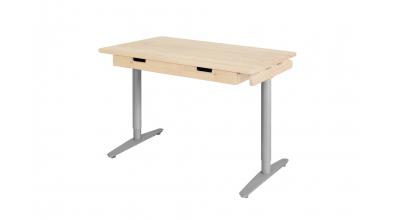Písací stôl s kovovou podnožou  132cm smrek