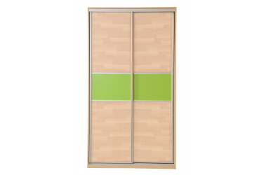 Skriňa s posuvnými dverami 120 cm lamino, dvierka buk cink