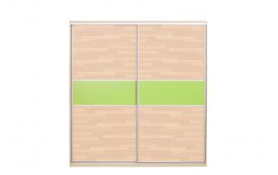 Skriňa s posuvnými dverami 195 cm lamino, dvierka buk cink