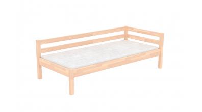 Jednolôžko so zábranou a nízkym čelom ľavým, buk cink, detská posteľ z masívu