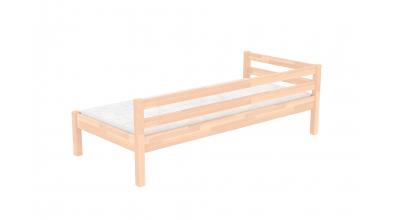 Jednolôžko so zábranou a nízkym čelom pravým, buk cink, detská posteľ z masívu
