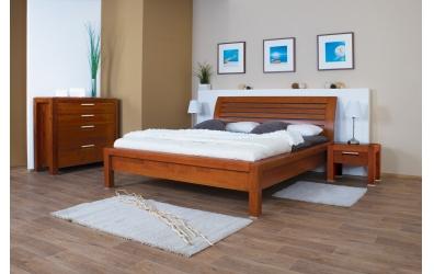 Manželská posteľ MANON s oblým čelom latkovým 180cm buk cink