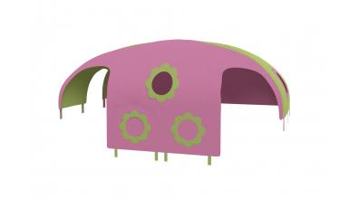 Domček stan kvetinky pre delené čelo a zábranu A B ľavý zeleno ružový