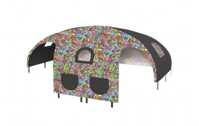 Domček stan pre zábranu A B farebný comics