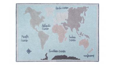Koberec LORENA CANALS, mapa světa, modrá